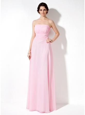 A-Line/Princess Strapless Floor-Length Bridesmaid Dresses With Ruffle
