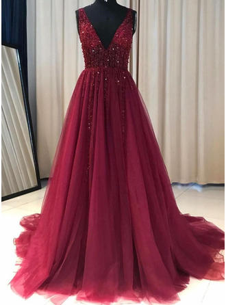 A-Line/Princess V-neck Tulle Sleeveless Sweep Train Ruffle Beading Evening Dresses