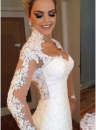 Trumpet/Mermaid Lace Long Sleeves V-neck Sweep Train Wedding Dresses