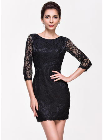Lace Short/Mini Scoop Neck Sheath/Column Cocktail Dresses