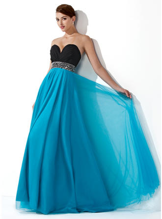Empire Sweetheart Floor-Length Prom Dresses With Ruffle Beading Sequins