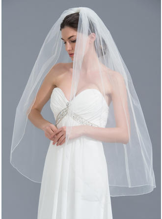 Fingertip Bridal Veils Tulle One-tier Classic With Pencil Edge Wedding Veils