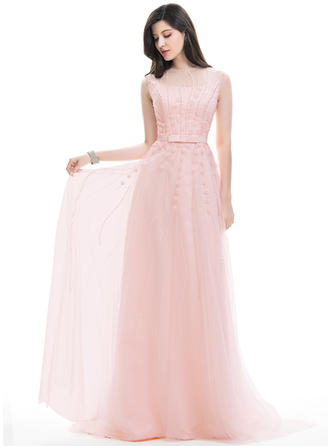 A-Line/Princess Scoop Neck Sweep Train Tulle Prom Dresses With Beading Appliques Lace Sequins Bow(s)