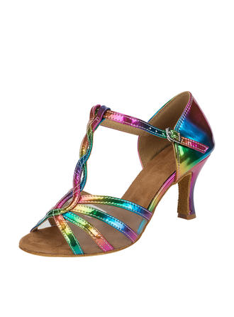 Women's Latin Leatherette With T-Strap Dance Shoes