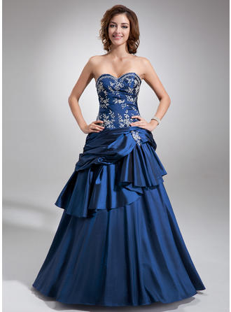 Ball-Gown Sweetheart Floor-Length Taffeta Prom Dress With Beading Cascading Ruffles