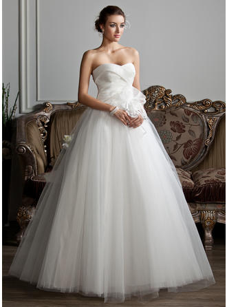 Sweetheart Ball-Gown Wedding Dresses Organza Tulle Ruffle Beading Flower(s) Sleeveless Floor-Length