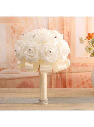 "Bridal Bouquets Round Wedding Satin/PE 10.24""(Approx.26cm) Wedding Flowers"