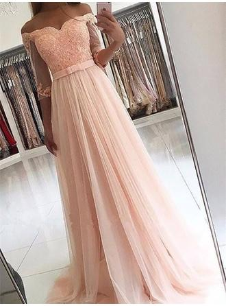 A-Line/Princess Tulle Prom Dresses Sash Beading Off-the-Shoulder 3/4 Sleeves Sweep Train
