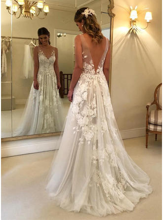 V-neck A-Line/Princess Wedding Dresses Tulle Appliques Lace Sleeveless Sweep Train (002218050)