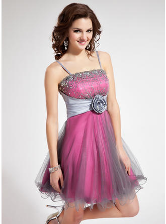 A-Line/Princess Short/Mini Taffeta Homecoming Dresses With Lace Beading Flower(s) Sequins