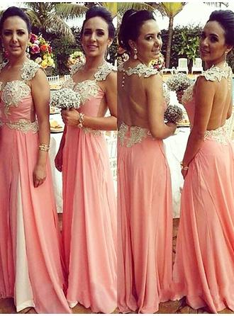 A-Line/Princess Chiffon Bridesmaid Dresses Appliques Lace Sweetheart Sleeveless Floor-Length
