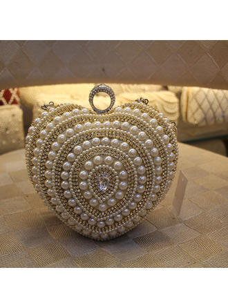 Clutches Wedding/Ceremony & Party PU/Imitation Pearl Push-lock frame closure Elegant Clutches & Evening Bags