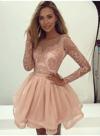 Beautiful Homecoming Dresses A-Line/Princess Short/Mini Scoop Neck Long Sleeves