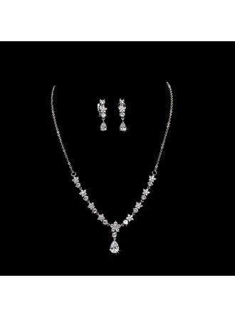Elegant Legering/Zirkon med Cylinder Zirkonium Damer' Smycken Sets