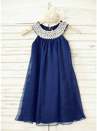 Empire Scoop Neck With Beading Chiffon Sleeveless Flower Girl Dresses