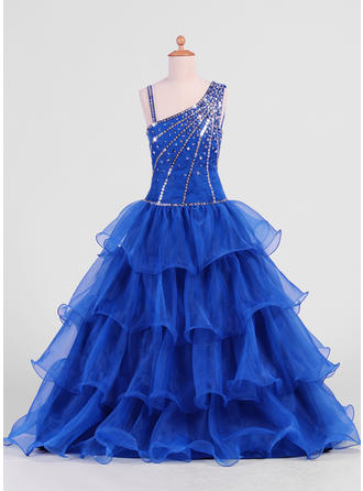 A-Line/Princess Floor-length With Ruffles/Beading/Sequins Organza Sleeveless Flower Girl Dress