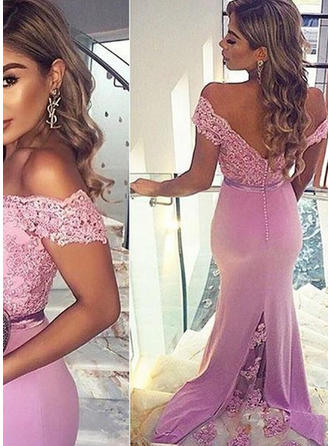 Trumpet/Mermaid Off-the-Shoulder Sweep Train Evening Dress