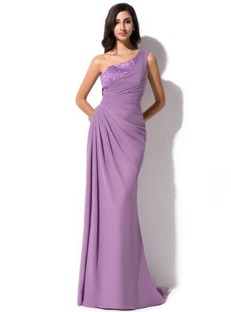 Sheath/Column One-Shoulder Chiffon Sleeveless Sweep Train Ruffle Beading Sequins Evening Dresses