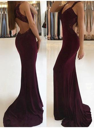 Jersey Sleeveless Trumpet/Mermaid Prom Dresses V-neck Appliques Lace Sweep Train