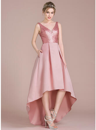 A-Line V-neck Asymmetrical Satin Sequined Bridesmaid Dress