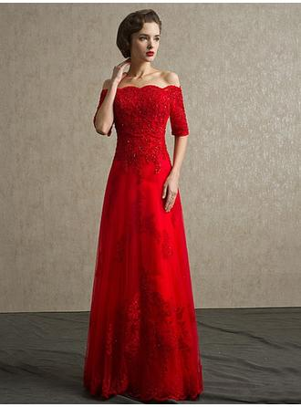 A-Line/Princess Off-the-Shoulder Floor-Length Evening Dress With Beading