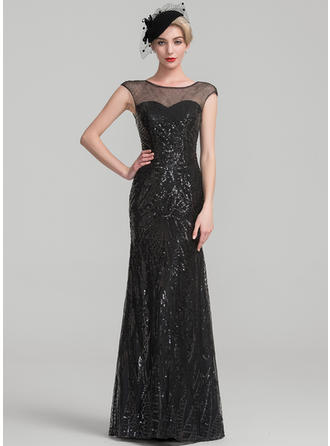 Trumpet/Mermaid Sequined Sleeveless Scoop Neck Floor-Length Zipper Up Mother of the Bride Dresses