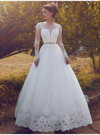 Scoop Ball-Gown Wedding Dresses Tulle Lace Sash Crystal Brooch Long Sleeves Floor-Length