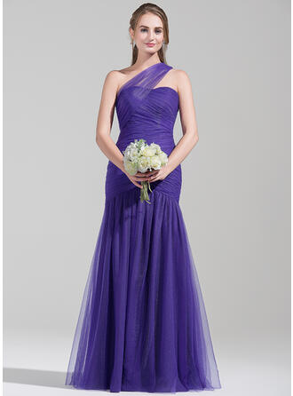 Trumpet/Mermaid One-Shoulder Floor-Length Tulle Bridesmaid Dress With Ruffle