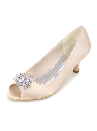 Women's Peep Toe Pumps Stiletto Heel Silk Like Satin With Others Wedding Shoes