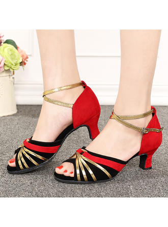 Women's Latin Sandals Suede With Hollow-out Dance Shoes