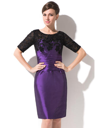 Taffeta Lace 1/2 Sleeves Mother of the Bride Dresses Scoop Neck Sheath/Column Ruffle Knee-Length