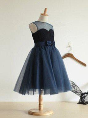 Modern Tea-length Ball Gown Flower Girl Dresses Scoop Neck Tulle Sleeveless