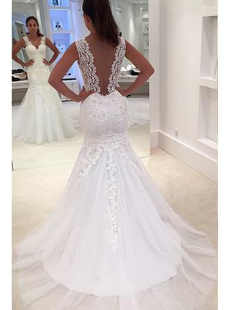 Trumpet/Mermaid V-neck Court Train Wedding Dresses With Beading Appliques Lace