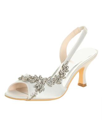 Femmes À bout ouvert Sandales Talon bobine Satiné avec Strass Chaussures de mariage