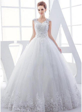 Chic Floor-Length Ball-Gown Wedding Dresses V-neck Tulle Sleeveless (002147918)