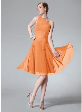 Chiffon Sleeveless A-Line/Princess Bridesmaid Dresses One-Shoulder Ruffle Knee-Length