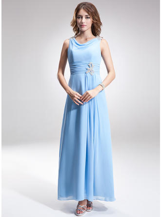 A-Line/Princess Cowl Neck Chiffon Sleeveless Ankle-Length Ruffle Beading Mother of the Bride Dresses
