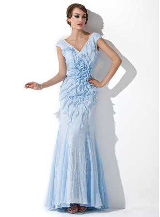 Trumpet/Mermaid V-neck Sequined Sleeveless Floor-Length Beading Flower(s) Cascading Ruffles Evening Dresses