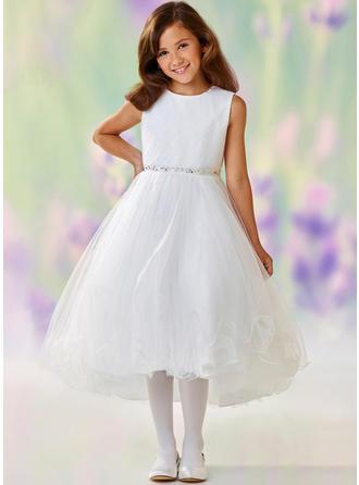 A-لاين أميرة عنق مدور غير متناظر مع مطرز بالخرز/حجر الراين قماش رقيق شفاف فستان فتاة الزهور