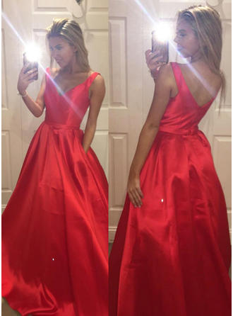 Magnificent Satin Evening Dresses Sweep Train A-Line/Princess Sleeveless V-neck