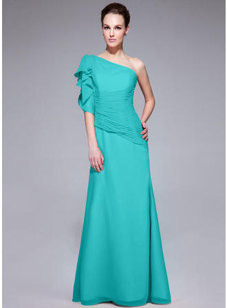 Trumpet/Mermaid One-Shoulder Chiffon Short Sleeves Floor-Length Ruffle Cascading Ruffles Evening Dresses