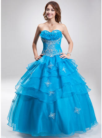 Ball-Gown Sweetheart Floor-Length Organza Prom Dress With Beading Sequins Cascading Ruffles