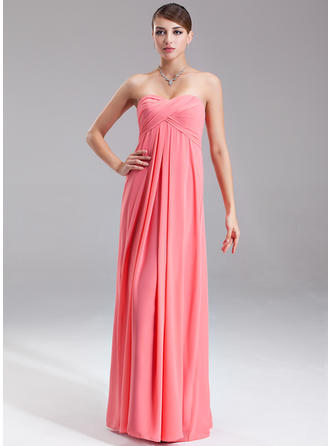 Empire Sweetheart Floor-Length Evening Dress With Ruffle