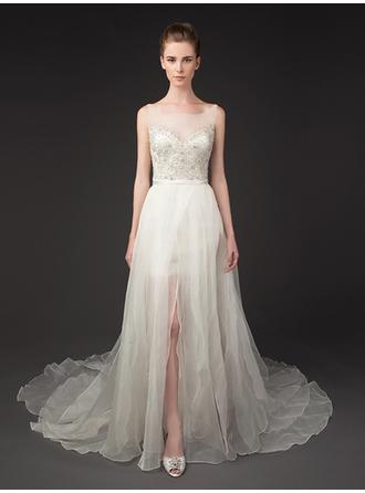 A-Line/Princess Scoop Court Train Wedding Dresses With Lace Sash