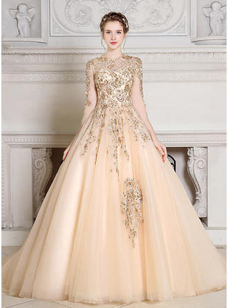Fashion Tulle Evening Dresses Ball-Gown Court Train Scoop Neck Long Sleeves