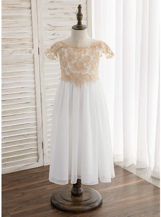 A-Line/Princess Tea-length Flower Girl Dress - Chiffon/Lace Short Sleeves Scoop Neck With Lace/Sash