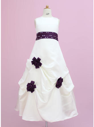 Elegant Scoop Neck A-Line/Princess Satin Flower Girl Dresses