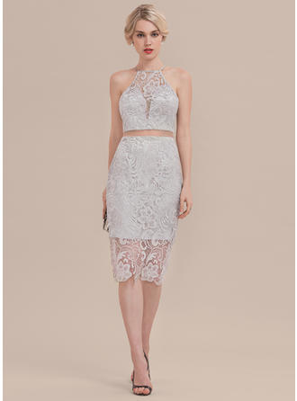 Sheath/Column Lace Homecoming Dresses Scoop Neck Sleeveless Knee-Length