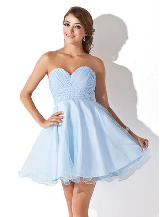 Empire Ruffle Beading Sequins Chiffon Tulle Homecoming Dresses Sweetheart Sleeveless Short/Mini