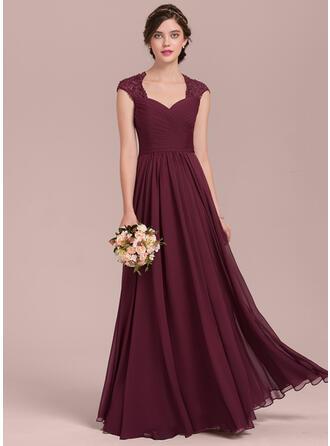 A-Line/Princess Sweetheart Floor-Length Chiffon Lace Evening Dress With Ruffle Beading